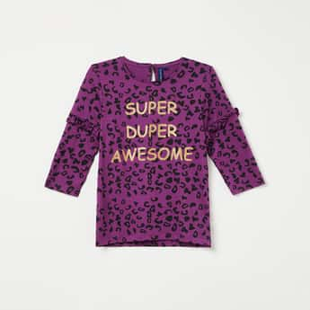 FAME FOREVER KIDS Printed Crew Neck Top with Ruffled Detail