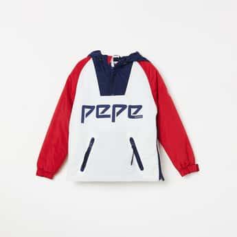 PEPE JEANS Printed Raglan Sleeves Hooded Jacket
