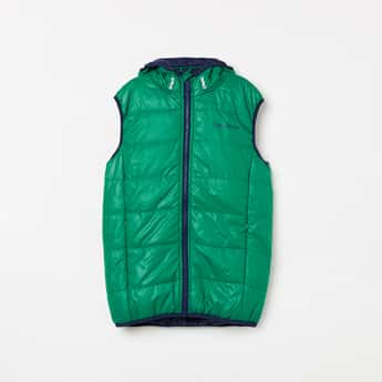 PEPE JEANS Solid Sleeveless Quilted Hooded Jacket