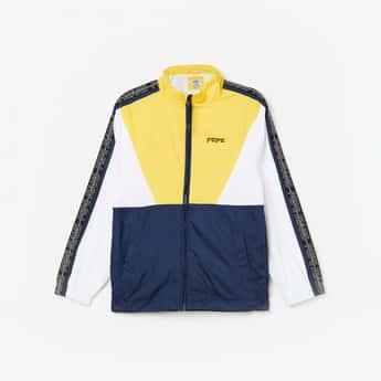 PEPE JEANS Colourblocked Tape-Detailed Zip-Closure Jacket