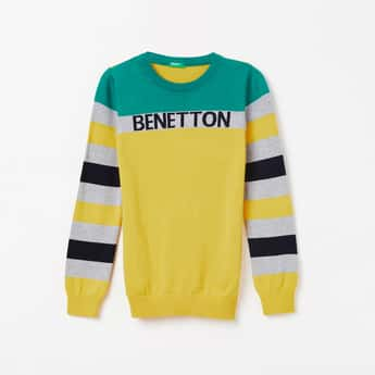 UNITED COLORS OF BENETTON Textured Full Sleeves Sweater