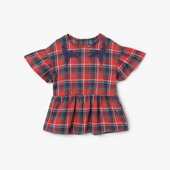 FAME FOREVER KIDS Floral Embroidery Checked Top