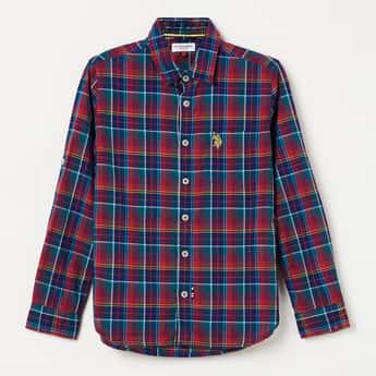 U.S. POLO ASSN. KIDS Checked Full Sleeves Shirt