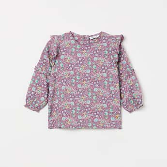 BOSSINI Floral Print Ruffled Detail Top