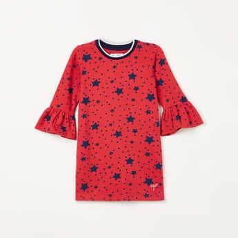 U.S. POLO ASSN. KIDS Star Print Bell Sleeves Dress