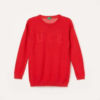 UNITED COLORS OF BENETTON Textured Crew-Neck Sweater