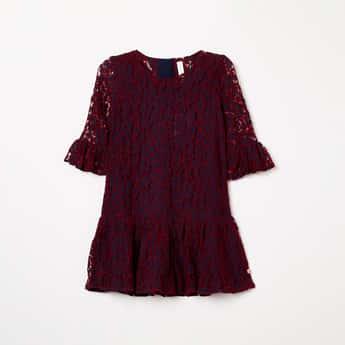 U.S. POLO ASSN. KIDS Round Neck Lace Dress