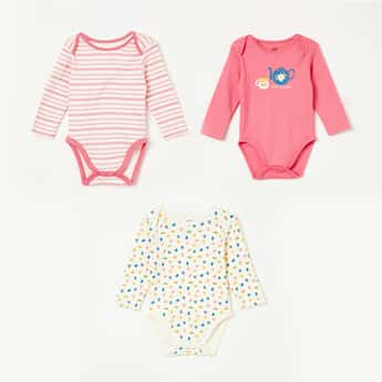FS MINI KLUB Printed Knitted Rompers - Set of 3