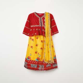 BIBA Embroidered Kurti with Printed Skirt
