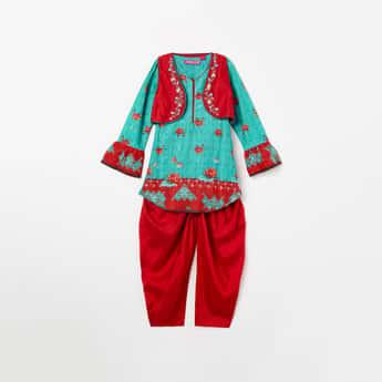 BIBA Embroidered Koti Layered Kurta with Patiala Pants
