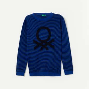 UNITED COLORS OF BENETTON Striped Crew-Neck Sweater