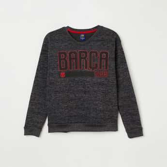 FC BARCELONA Printed Full Sleeves Sweatshirt