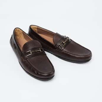 RUOSH Textured Buckle Embellished Loafers