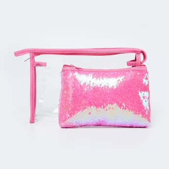 GINGER Sequinned Zip-Closure Cosmetic Pouch - Set of 2