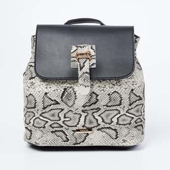 CODE Snakeskin Textured Flap-Closure Backpack