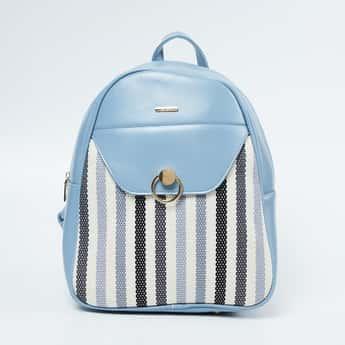 GINGER Striped Zip Closure Backpack