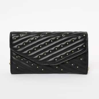 GINGER Embellished Textured Envelope Clutch with Chain Strap