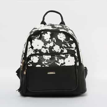GINGER Floral Print Textured Backpack