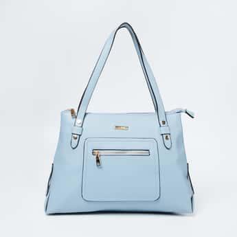 CODE Textured Shoulder Bag with Flat Handles