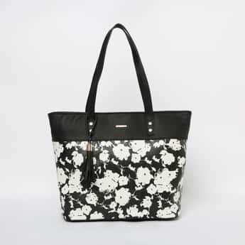 GINGER Floral Print Tasselled Tote Bag