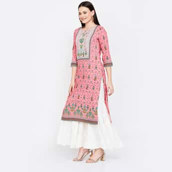 MELANGE Printed Key-Hole Neck Straight Kurta