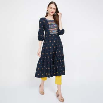 MELANGE Printed Three-quarter Sleeves A-line Kurta