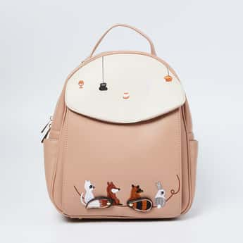 GINGER Colourblocked Backpack with Applique