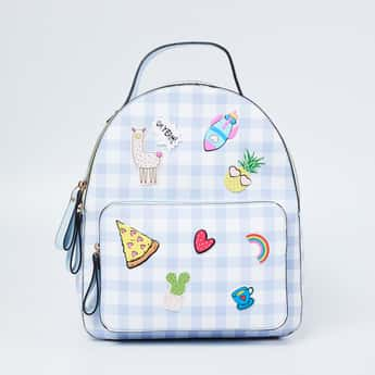 GINGER Gingham Checked Backpack with Applique