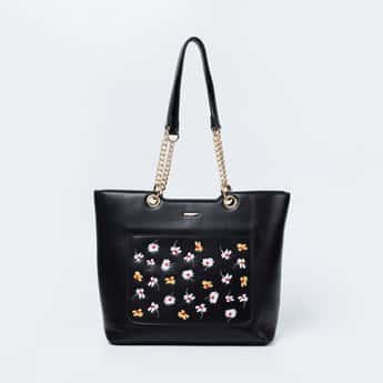 GINGER Embroidered Zip-Closure Tote Bag