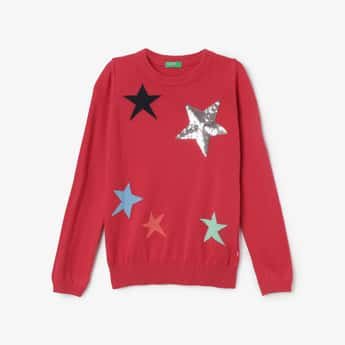 UNITED COLORS OF BENETTON Star Pattern Sequinned Sweater