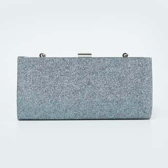 CODE Shimmery Party Clutch with Chain Strap