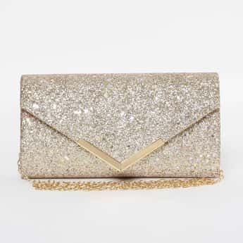 CODE Shimmery Envelope Clutch with Chain Strap