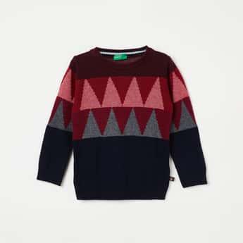 UNITED COLORS OF BENETTON Chevron Print Colourblock Sweater