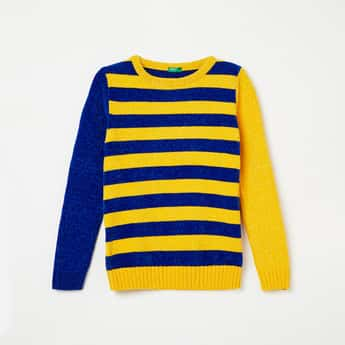 UNITED COLORS OF BENETTON Colourblocked Full Sleeves Sweater