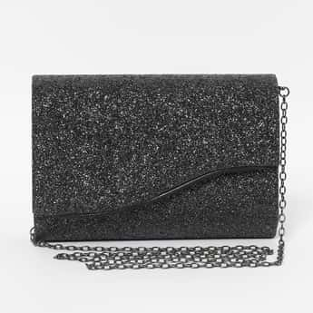 CODE Shimmer Flap Closure Clutch with Chain Sling