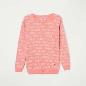 LEE COOPER JUNIORS Typographic Jacquard Full Sleeves Sweater