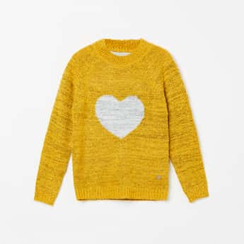U.S. POLO ASSN. KIDS Textured  Full Sleeves Sweater