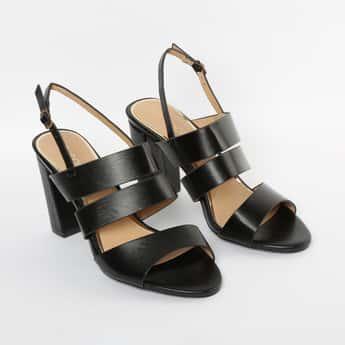 CODE Textured Slingback Block Heels