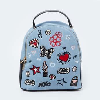 GINGER Appliqued Zip Closure Backpack