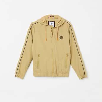 U.S. POLO ASSN. KIDS Solid Full Sleeves Slim Fit Hooded Jacket