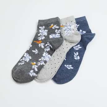 GINGER Women Patterned Knit Ankle Socks - Pack of 3
