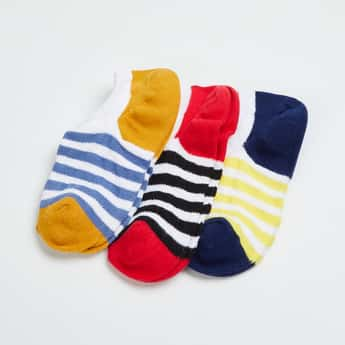 FAME FOREVER Boys Striped Ankle-Length Socks - Pack of 3 Pairs