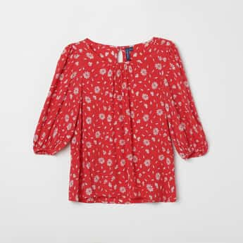 FAME FOREVER YOUNG Floral Print Blouson Sleeves Top