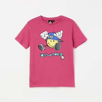 SMILEY Graphic Printed Crew Neck T-shirt