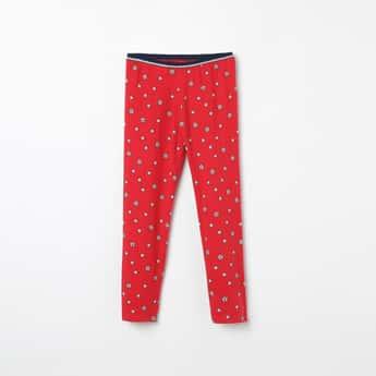 U.S. POLO ASSN. KIDS Star Print Knitted Leggings
