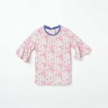 U.S. POLO ASSN. KIDS Floral Print Top with Bell Sleeves