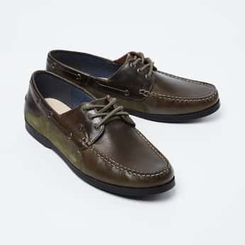 LEE COOPER Genuine Leather Textured Boat Shoes