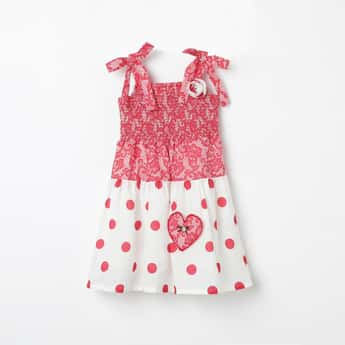 PEPPERMINT Polka-Dot Print A-line Dress with Tie-Up