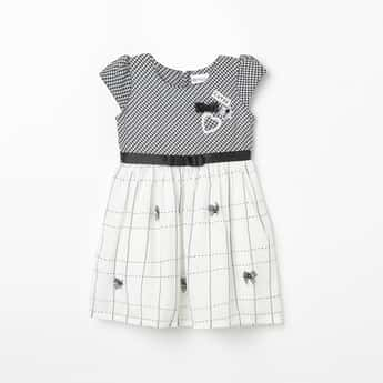 PEPPERMINT Checked Fit & Flare Dress with Applique