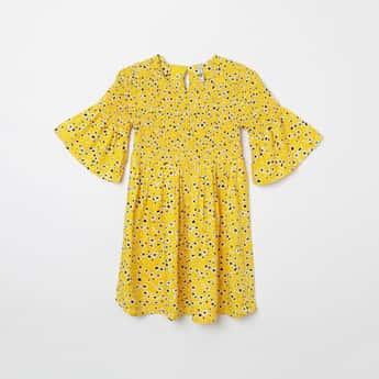 LEE COOPER JUNIORS Printed Smock Detail A-line Dress